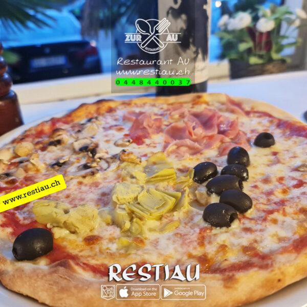 Pizza Quattro Stagioni - Pizza - restiau - restaurant zur au - resti au