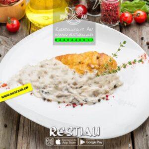 Rahmschnitzel Poulet - Fleischgerichte - restiau - restaurant zur au - resti au