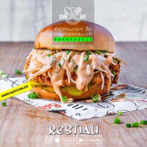 chiken burger - Burger - restiau - restaurant zur au - resti au